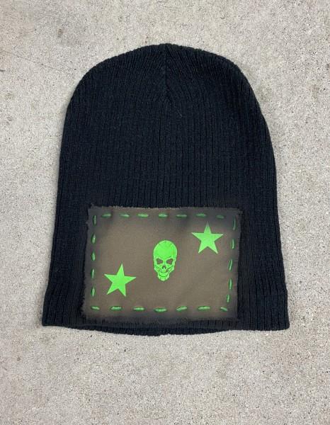 Ullikat -Army Beanie Skull/Stars Neon Grün