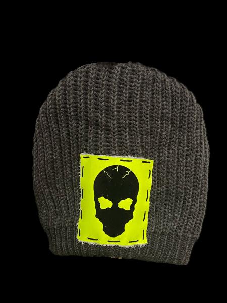 Ullikat - Beanie Black Neon Totenkopf