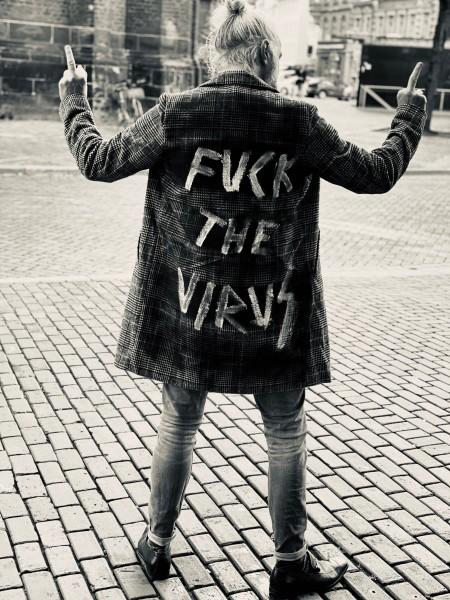 Fuck the Virus - Herren Karo Mantel