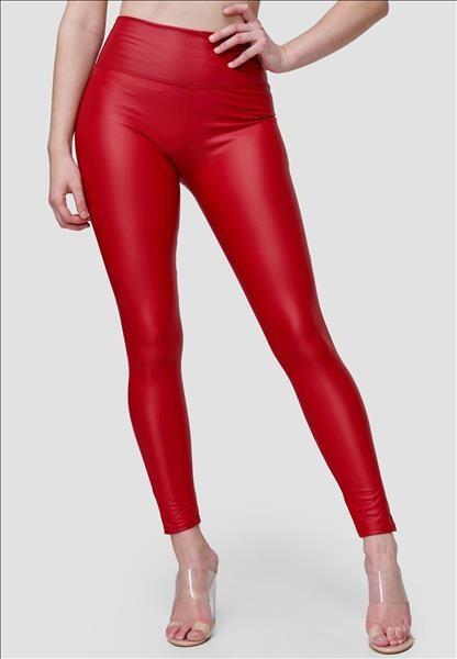 Damen Leder Leggings Rot