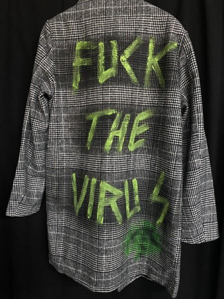 Fuck the Virus - Herren Karo Mantel schwarz/grün